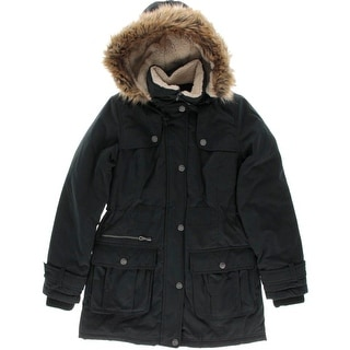 DKNY Womens Faux Fur Water Repellent Anorak Jacket