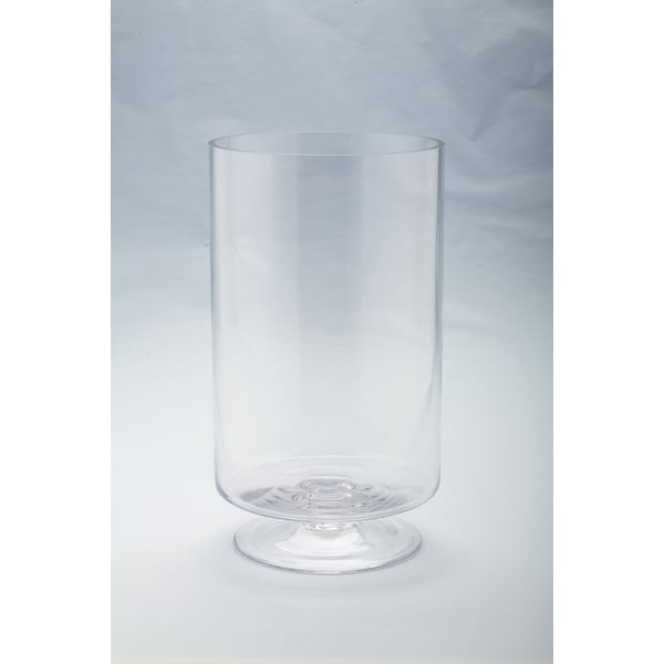 "14"" Cylindrical Handblown Glass Candle Holder with Pedestal - N/A"