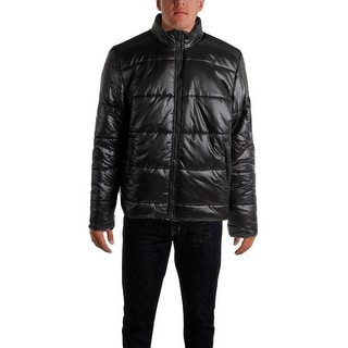 Calvin Klein Jeans Mens Big & Tall Quilted Mixed Media Puffer Coat - 2XL