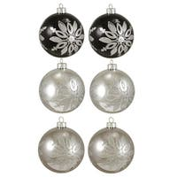 "6ct Black and Silver Snowflake Shatterproof Christmas Ball Ornaments 3.25"" 80mm"