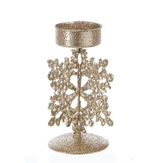 Pack of 6 Gold Christmas Decorative Snowflake Tin Tea Light Candle Holders