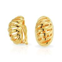 Bling Jewelry Gold Plated Brass Half Hoop Modern Geometric Clip On Earrings