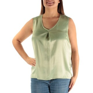 Womens Green Sleeveless V Neck Casual Top Size XL