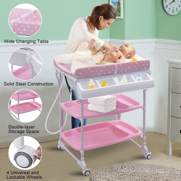 Costway Baby Infant Bath Changing Table Diaper Station Nursery Organizer Storage w Tube - Pink