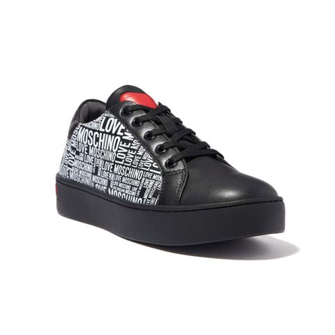 Love Moschino Women's Leather All Over Logo Sneakers Black