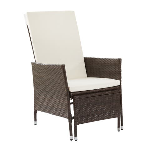 Peaktop - Patio Chair with Pull-Out Ottoman and Cushions - Brown and White