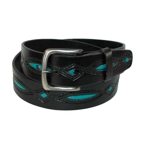 CTM® Men's Oil Tanned Leather Belt with Embossed Turquoise Accents