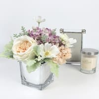 G Home Collection Luxury White Rose Cosmos and Purple Mixed Flower Arrangement