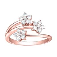 Prism Jewel 0.54 TCW G-H/SI1 Natural Diamond Three Flower Cluster Ring - White G-H