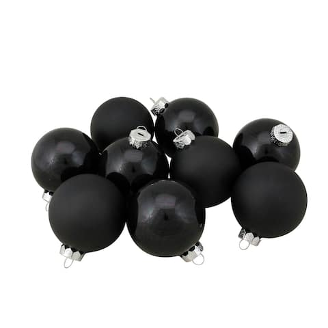 "9ct Shiny and Matte Black Glass Ball Christmas Ornaments 2.5"" (65mm)"