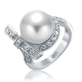 Bling Jewelry 925 Sterling Silver Bridal CZ Bow Ribbon White Imitation Pearl Rings