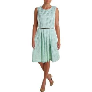 Calvin Klein Womens Eyelet Pleated Wear to Work Dress