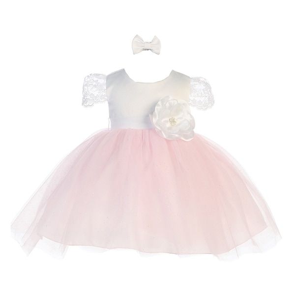 Baby Girls White Pink Floral Accented Glitter Tulle Flower Girl Dress