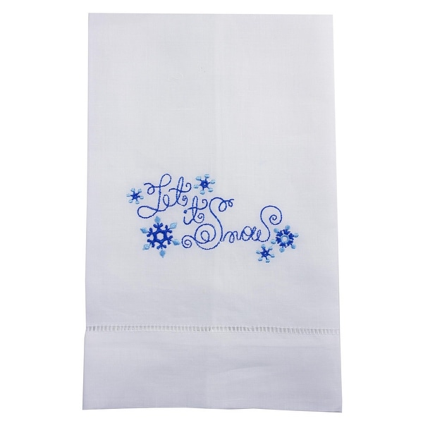 Let It Snow Embroidered Linen Tea Towel Collection