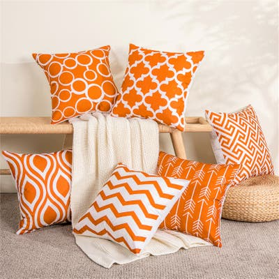 Topfinel Square Indoor/Outdoor Canvas Throw Pillow Cover (Set of 6)