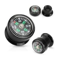 Real Compass Inlaid Black Acrylic Screw Fit Plug (Sold Individually)