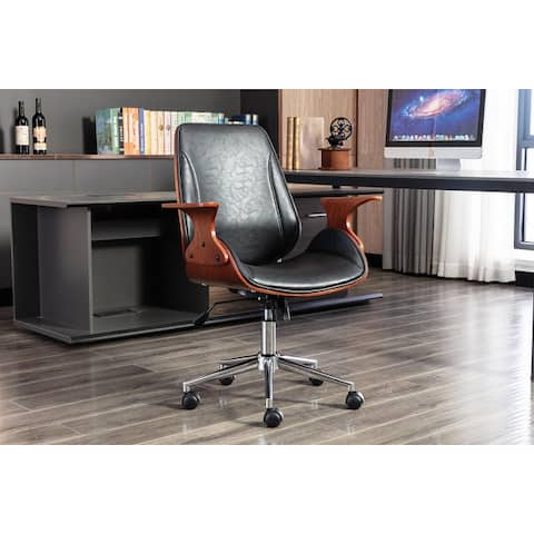 Porthos Home Colter Swivel Office Chair, PU Leather, Roller Wheels