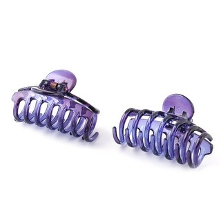 Women Shower Plastic Hair Claw Clip Clamp Barrette Purple 2pcs