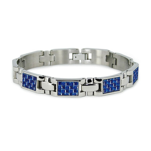 Titanium Men's Link Bracelet with Blue Carbon Fiber Accents (10mm Wide) 7.75 Inches