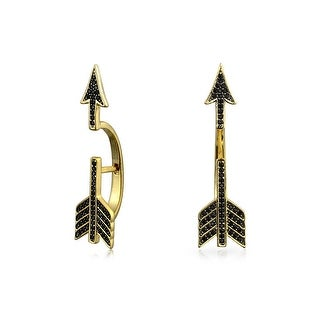 Bling Jewelry 925 Silver Dyed Black Spinel Cupids Arrow Ear Jackets