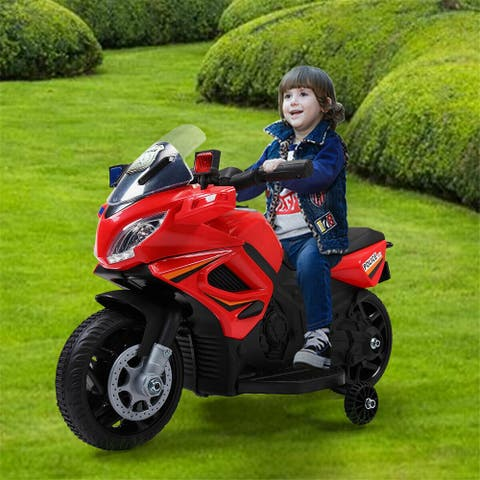 """Kids Ride Motorcycle 6V Battery Powered Electric Toy Police Car - 7'6"""" x 9'6"""" - 7'6"""" x 9'6"""""""