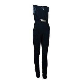 Thalia Sodi Women's Hardware Embellished Illusion Jumpsuit - Deep Black