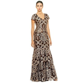 David Meister Sequined Cap Sleeve Gown