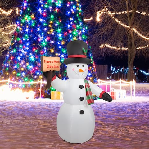Kinbor 8Ft Lighted Christmas Inflatable, Snowman with Sign, Outdoor Xmas Blow Up Holiday Yard Decoration w/ LED Lights - white
