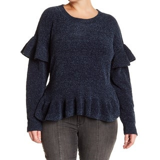 Melrose and Market NEW Blue Womens Size 1X Plus Ruffle Pullover Sweater