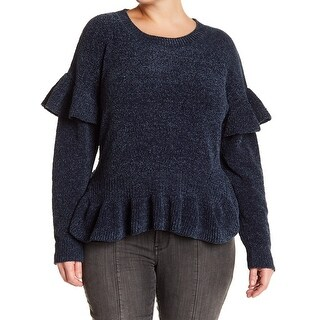 Melrose and Market Womens Plus Ruffle Pullover Sweater