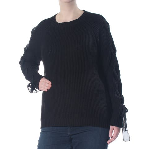 SAY WHAT? Womens Black Lace Up Sleeves Long Sleeve Sweater Plus Size: 2X
