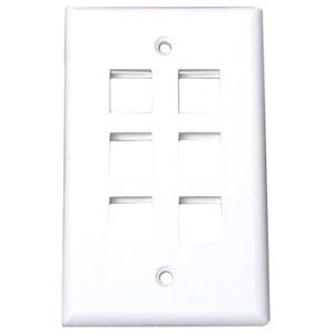 StarTech PLATE6WH StarTech.com 6 Outlet RJ45 Universal Wall Plate - White - 6 x Socket(s) - White