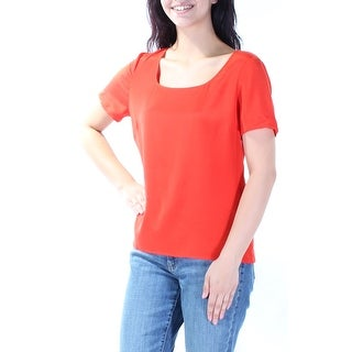 ST JOHN $295 Womens New 2696 Red Square Neck Short Sleeve Casual Top M B+B
