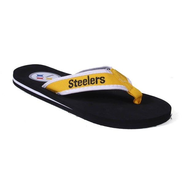 Happy Feet Mens and Womens Pittsburgh Steelers Contour Flip Flop - pittsburgh steelers contour