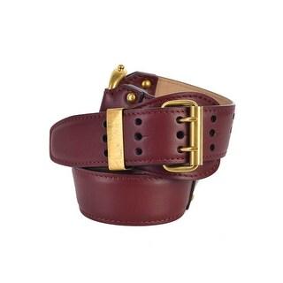 Roberto Cavalli Womens Red Leather Three Ringed Harness Slim Waist Belt