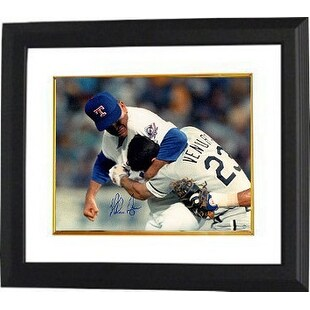 Nolan Ryan signed Texas Rangers 16x20 Photo Custom Framed  (Fight vs Ventura)- Steiner Hologram