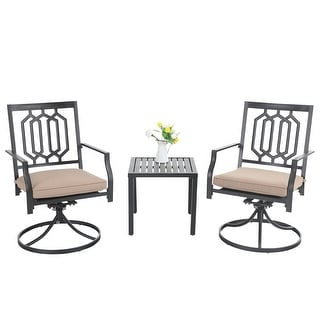Link to PHI VILLA 3-Pcs Outdoor Dining Set: Steel Swivel Dining Chair with Cushion and Black Small Metal Square Coffee Table Similar Items in Outdoor Dining Sets