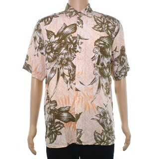 Tasso Elba Beige Mens Size Medium M Button Down Hawaiian Shirt