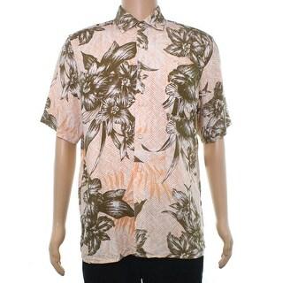 Tasso Elba Beige Mens Size XL Button Down Orchid Sketch Linen Shirt