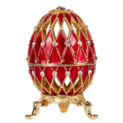 Netting Imperial Faberge Egg / Jewelry Box w/ Clock in Red