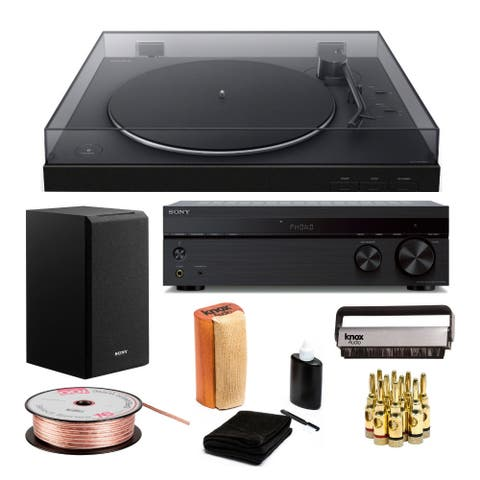 Sony PS-LX310BT Bluetooth Turntable with Receiver and Speaker Bundle
