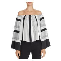 Kendall + Kylie Womens Casual Top Striped Off The Shoulder