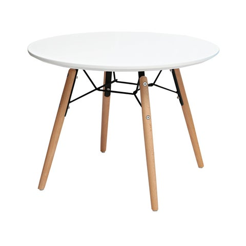 2xhome Contemporary Mid Century Modern White Plastic Kids Round Activity Table Bedroom Home School Preschool Daycare Child