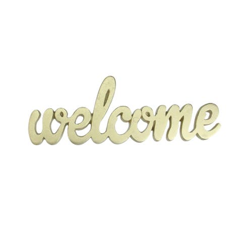9 Elegant Indoor Shimmering Gold Tone Cursive Welcome Cut-Out Decoration