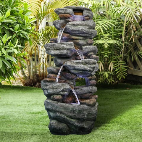 Stone-Liking Natural Looking Resin Waterfall Fountain for Patio Garden