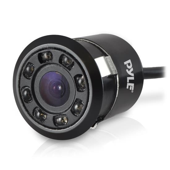 Mini Rearview Backup Parking Assist Camera, Waterproof, Night Vision LEDs, Distance Scale Line Display, Flush Mount