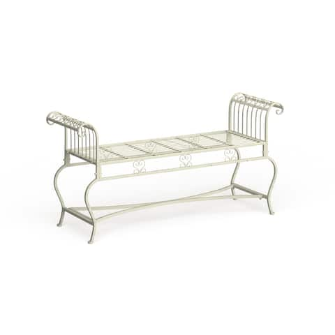 "Safavieh Outdoor Living Brielle Victorian Iron 52-inch Bench - 52"" W x 16.3"" L x 25.5"" H"
