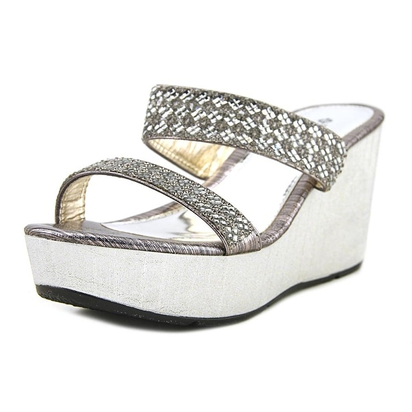 Patrizia By Spring Step Tanuja Women Open Toe Synthetic Silver Wedge Sandal
