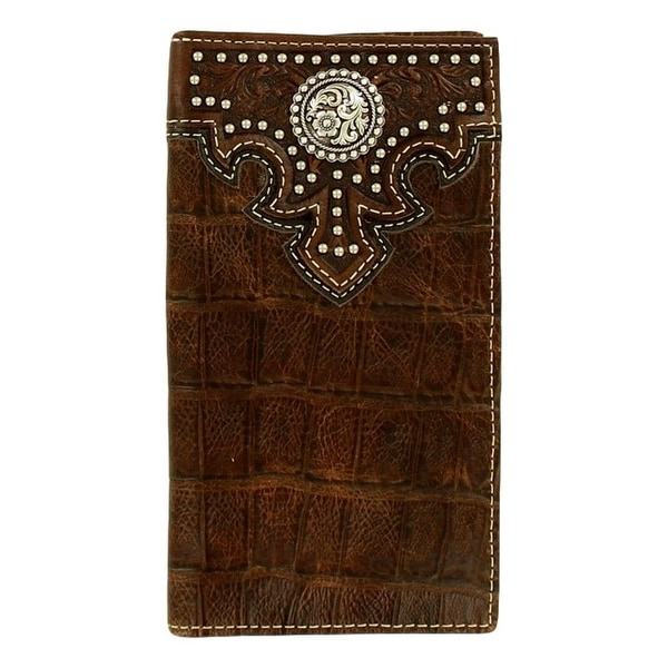 Ariat Western Wallet Mens Rodeo Croco Concho Nailheads Brown - One size