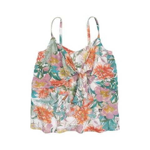 bebe girls Girls Tops Green Size XL Tie-Front Floral Print V-Neck